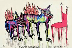 Adam Cullen - Flamin Mongrels - The Senate - 76 x 122cm