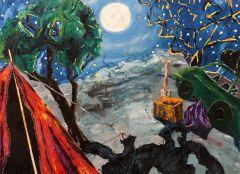 Bernard Ollis - 'Camping Under a Full Moon' - 122x167cm