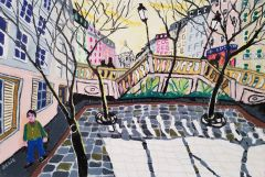 Bernard Ollis - 'The Climb to Sacre Coeur' - 51x76cm