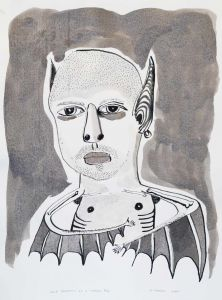 Franck Gohier - Self Portrait as a flying fox - grey - 44x32cm