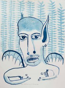 Franck Gohier - Self Portrait as a flying fox - blue - 44x32cm