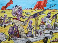 George Gittoes - 'Mad Max Technicals (Somalia: NV Comic Virus Series)' - 91 x 122cm