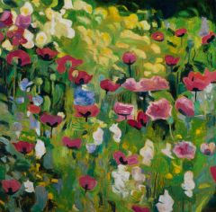 Jeff Makin - Poppies & Euphorbia - 92x92cm