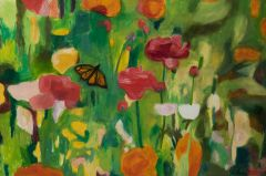 Jeff Makin - Ranunculus with Butterfly - 61x92cm