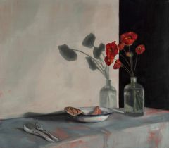 Mirra Whale - Winter red poppies and smoked trout debris - 71x81cm