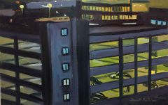 Stewart MacFarlane - Hobart Car Park at Night - 36x56cm