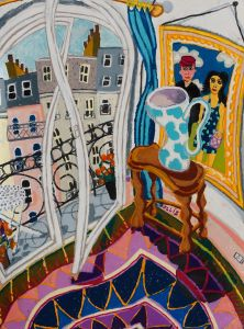 Bernard Ollis - Balcony View with Blue and White Vase - 59x76cm