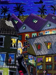 Bernard Ollis - Beach Suburb Night (II) - 59x76cm