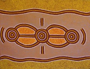 Long Jack Phillipus Tjakamarra - Water Dreaming A15210 - 90x120cm