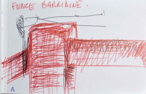 Adam Cullen - Fence at Barradine - 9 x 13.5cm
