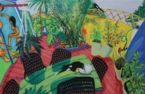 Bernard Ollis - 'The Artists' Garden (with currawongs) - 99 x 154.5cm