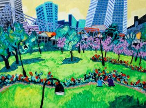 Bernard Ollis - 'Gardens with Story Bridge' - 77x102cm