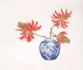 Deirdre Bean - Coral Tree and Ginger Jar - 44x53cm