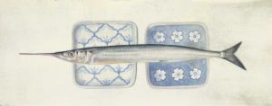 Deirdre Bean - Garfish and Two Plates - 14x35cm