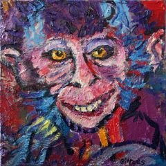 George Gittoes - Dali the Circus Monkey - 40x40cm