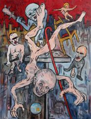 George Gittoes - 'Fall of the Magician' - 46 x 36cm