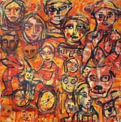 Carlos Barrious - 'Happy Farmers' - 200 x 200cm