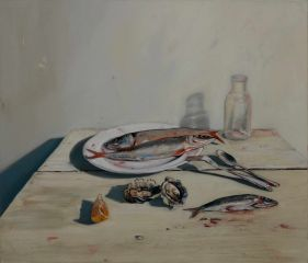 Mirra Whale - Mackerel, sardine and oysters - 63x73cm