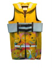 Matthew Cheyne and Leigh Buchanan 'RELAX! Life Vest' front, spray paint on linen with viscose lining. 100x63cm.