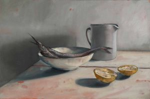 Mirra Whale - Garfish with Celia's bowl - 40x60cm
