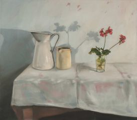 Mirra Whale - White still life with geranium - 71x81cm