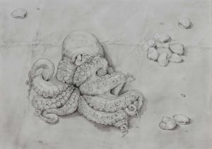 Mirra Whale - Octopus and clams - 40x54cm