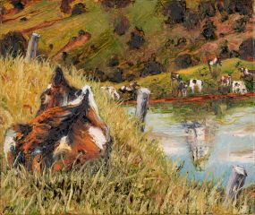 Peter Hudson - Cow and Mountain - 26x31cm