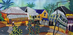 Bernard Ollis - Queenslander Houses Brisbane Panorama - 66x120cm