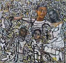Carlos Barrios - Self Portrait with Wife, 2 Kids, 3 Cats, 1 Dog, 2 Rabbits, 3 Chickens, 3 Fish and Many Spirits - 170x180cm