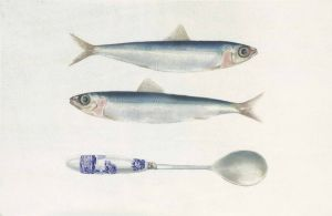 Deirdre Bean - Two Sardines and Spoon - 14x20cm