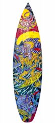 Virus Squad Plucked Surfboard, 176x47cm acrylic and resin on surfboard (2021)