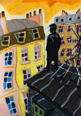 Bernard Ollis - Man on the Roof Paris - 37x51cm