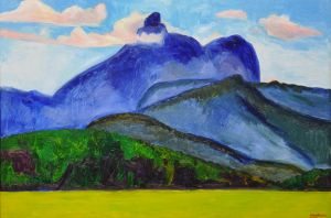Jeff Makin - Mt Warning: Blue - 61x92cm