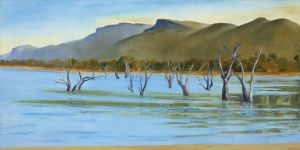 Jeff Makin - Mt William from Lake Lonsdale - 76x152cm