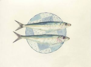 Deirdre Bean - Sardines and Plate - 21x27cm