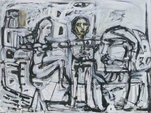 Carlos Barrios - Sitting Lady in Limbo - 76x101cm